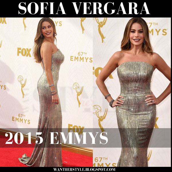 Sofia Vergara in metallic gold mermaid St John gown 2015 emmys red carpet what she wore