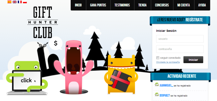 Gifthunterclub (Ganar por clickar anuncios, ver vídeos, hacer encuestas y otras actividades)