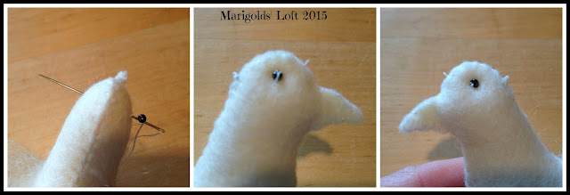 Sewing on the dove eyes