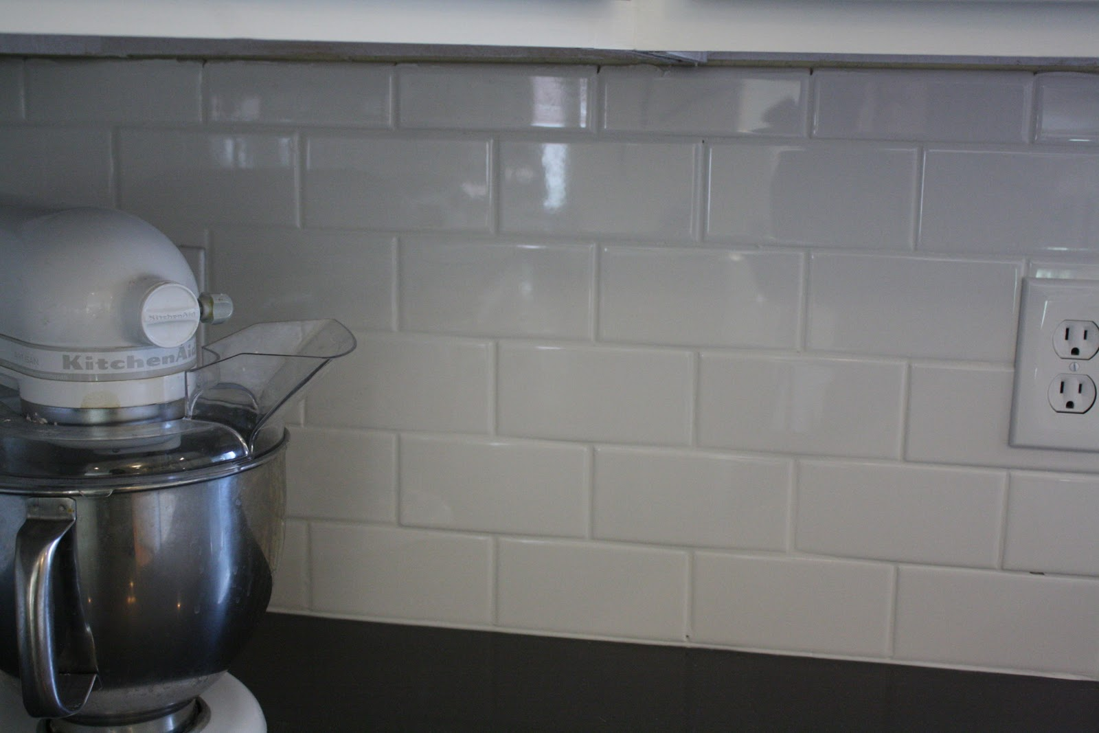 diy white subway tile backsplash