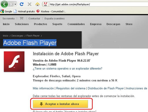 instalar adobe flash player