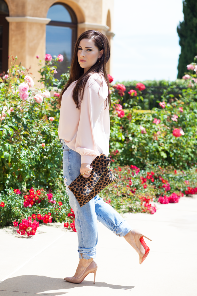 GAP distressed boyfriend jeans, christian louboutin pigalle nude pumps