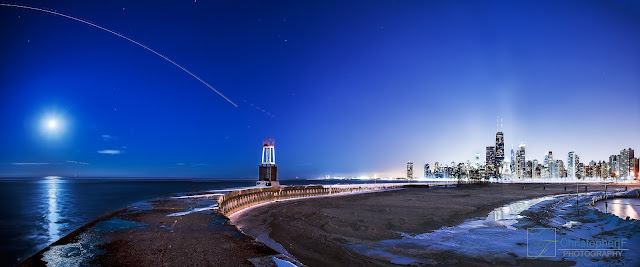 Full Moon over Chicago Panorama