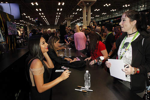 Shay Mitchell (Emily) signing autographs at New York Comic Con