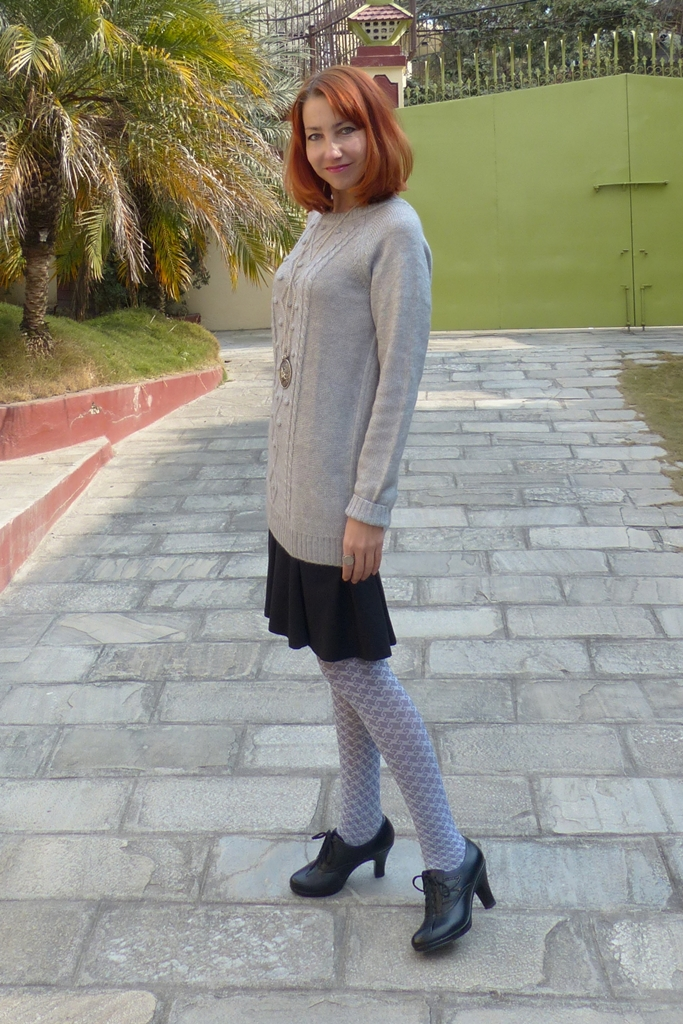 Casual wear: sweater dress with skirt and printed tights