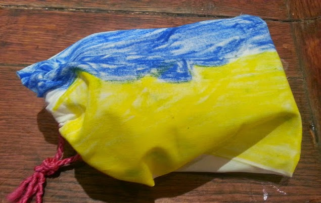 Child made drawstring bag gift