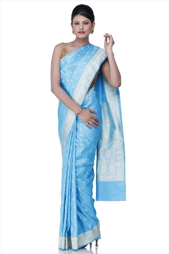 Turquoise Blue Kattan Silk Banarasi Saree