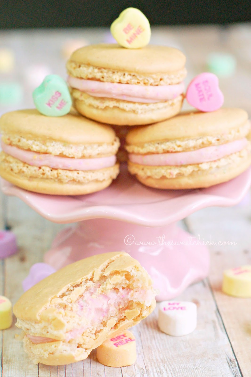 Conversation Heart Macarons www.thesweetchick.com
