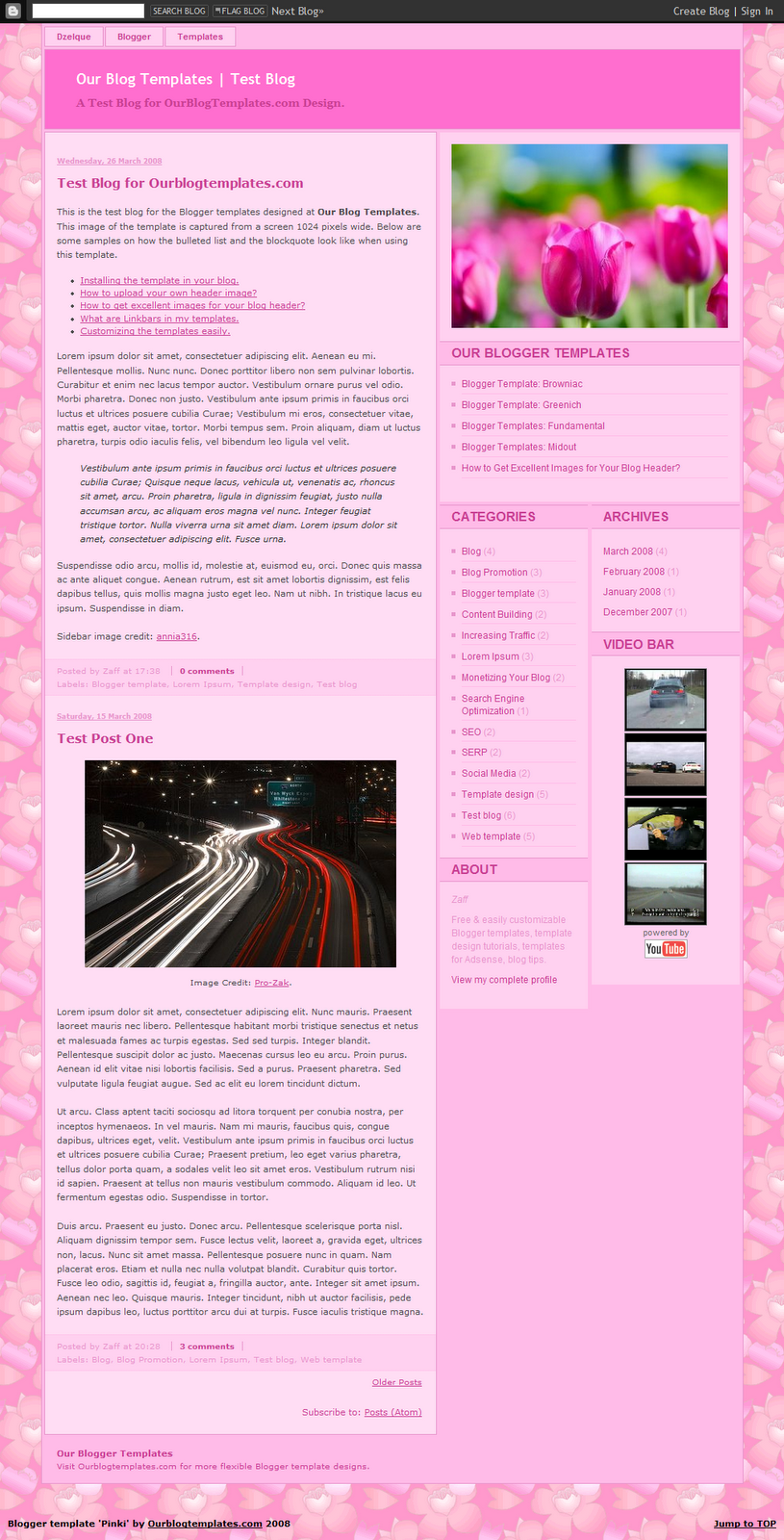 Free Pinki Page Blogger Template