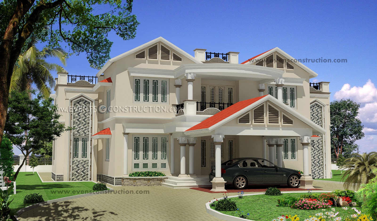 The gallery for colonial style house in kerala for Colonial style house plans kerala
