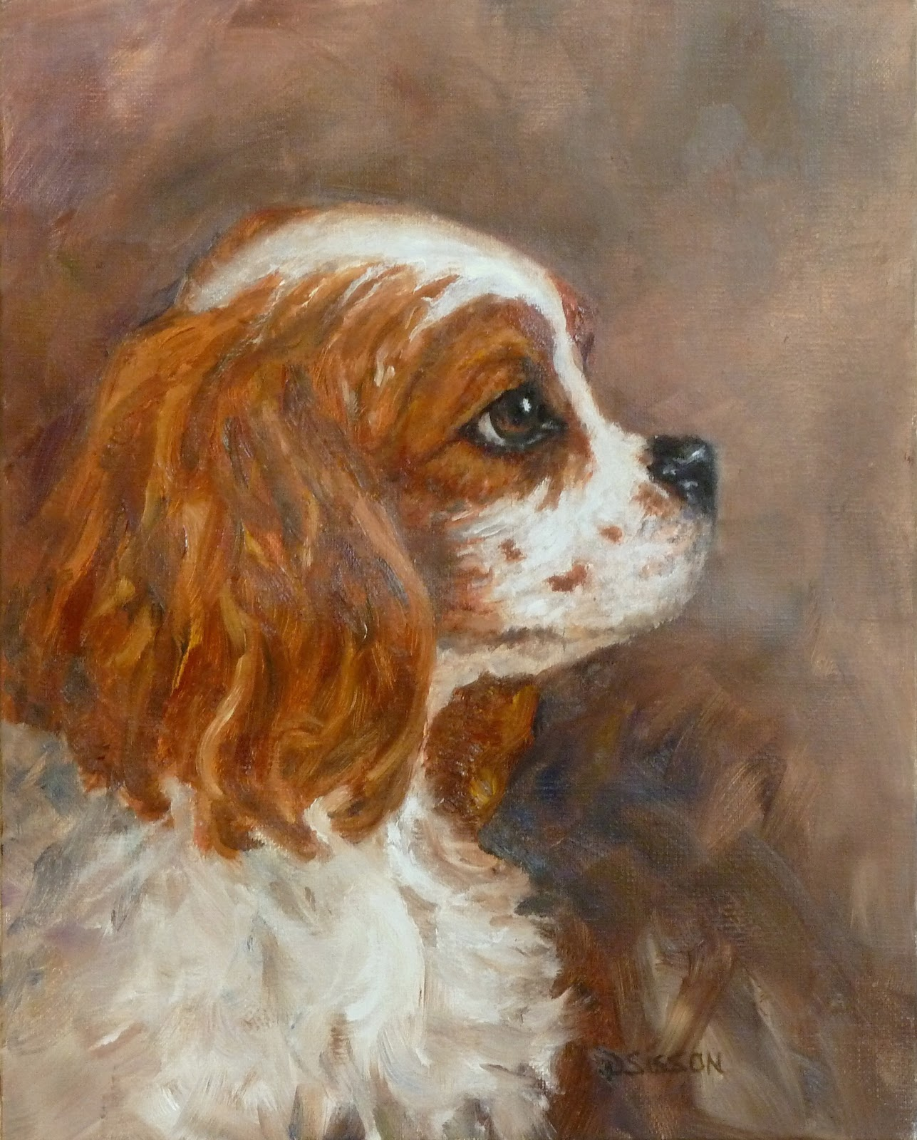 Daily painting projects cavalier profile oil painting dog for Dog painting artist