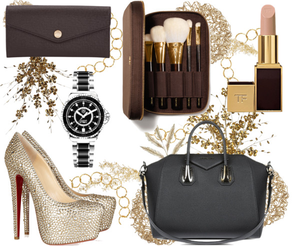 The 'If I Was A Rich Girl' Christmas List, Luxury Chrismtas List, Dream Christmas List, Michael Kors Purse, Givenchy Antigona Handbag, Androgynous Tag Watch, Tom Ford Deluxe Brush Set, Tom Ford Lipstck, Louboutins, Mark Milton Gold Rop Necklace