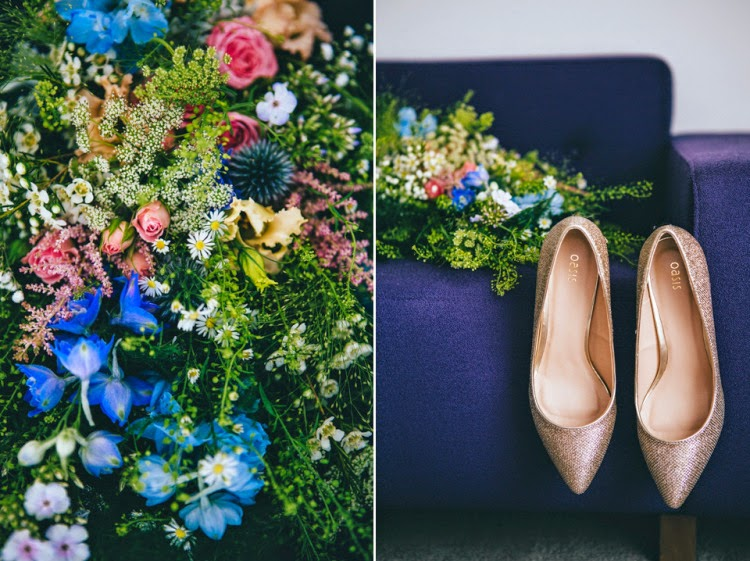 Just picked flowers by Sheffield Florist Campbell's Flowers and wedding shoes.