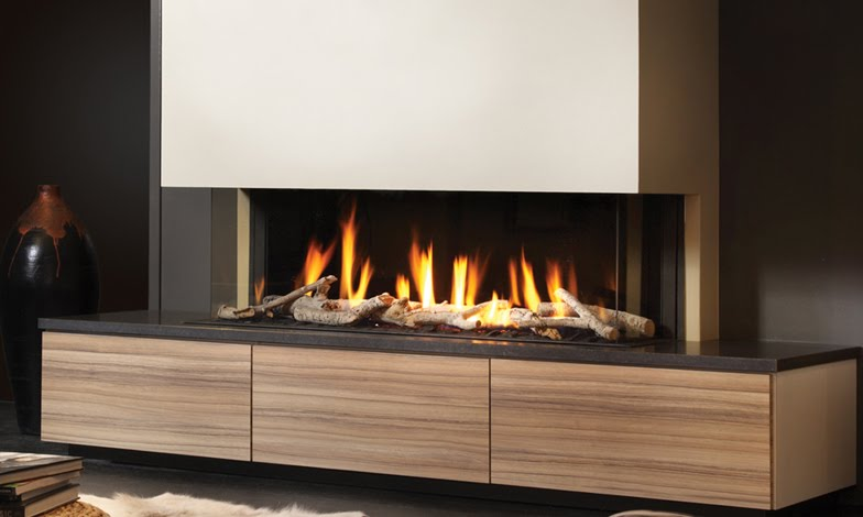 Gas fires electric fires flueless fires and for Modern living room gas fires