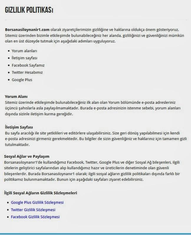 Gizlilik Politikası Sayfası Örneği