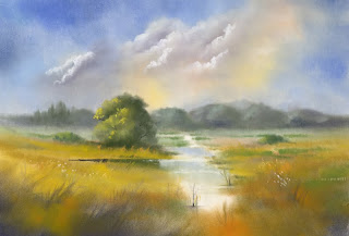 Misty marsh in Pan Pastel