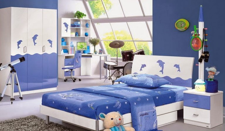 Kids Bedroom Furniture Design in Blue Theme Decoration Ideas