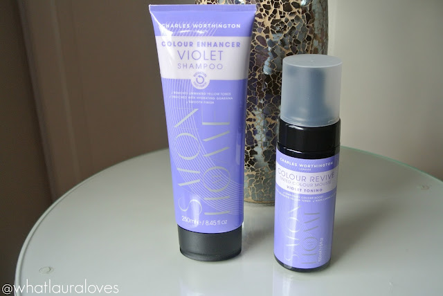 Photographs of the packaging of the Charles Worthington Violet Shampoo & Toning Mousse