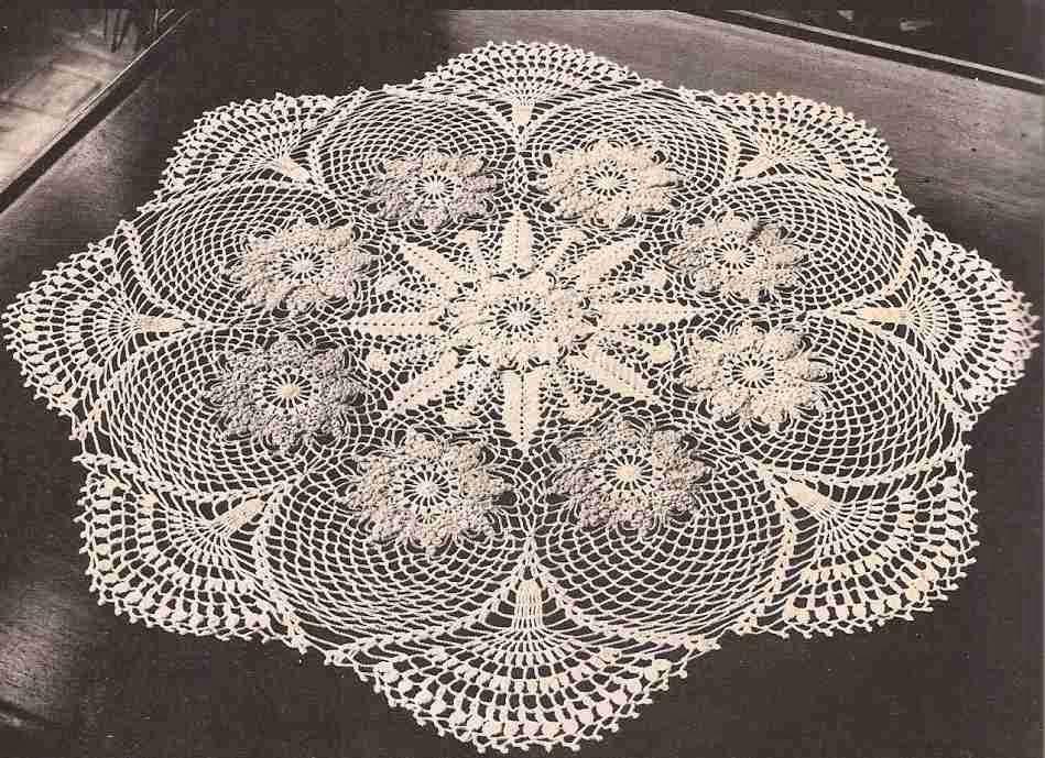Patr n 377 centro de mesa de tres colores ctejidas for Centro de mesa a crochet