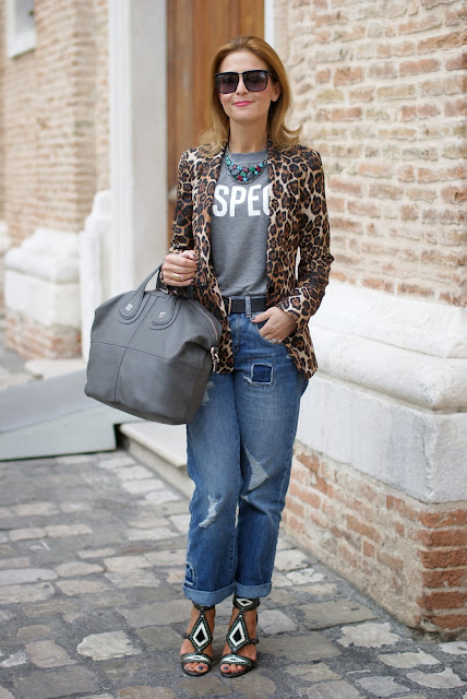 leopard blazer, Respect t-shirt, Givenchy grey Nightingale bag, Asos boyfriend jeans, Fashion and Cookies, fashion blogger