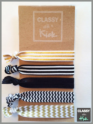 Classy with a Kick Hair Ties: Black, White, Gold, Striped, Chevron