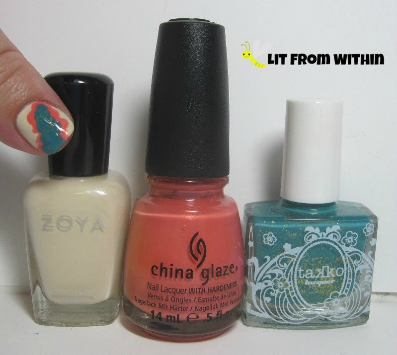 Bottle shot:  Zoya Jacqueline, China Glaze Mimosa's Before Mani's, and Takko Lacquer Nirvana.