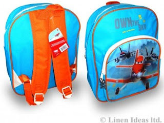 bright blue and orange dusty planes from disneys movie backpack