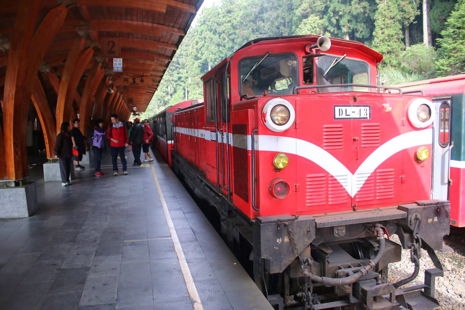 A closer look at the old train at Forest Railway Alishan Station at Alishan National Scenic Area in Chiayi County of Taiwan
