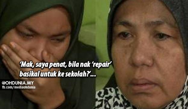 'Mak, saya penat, bila nak 'repair' basikal untuk ke sekolah?' – keluhan anak ibu tunggal
