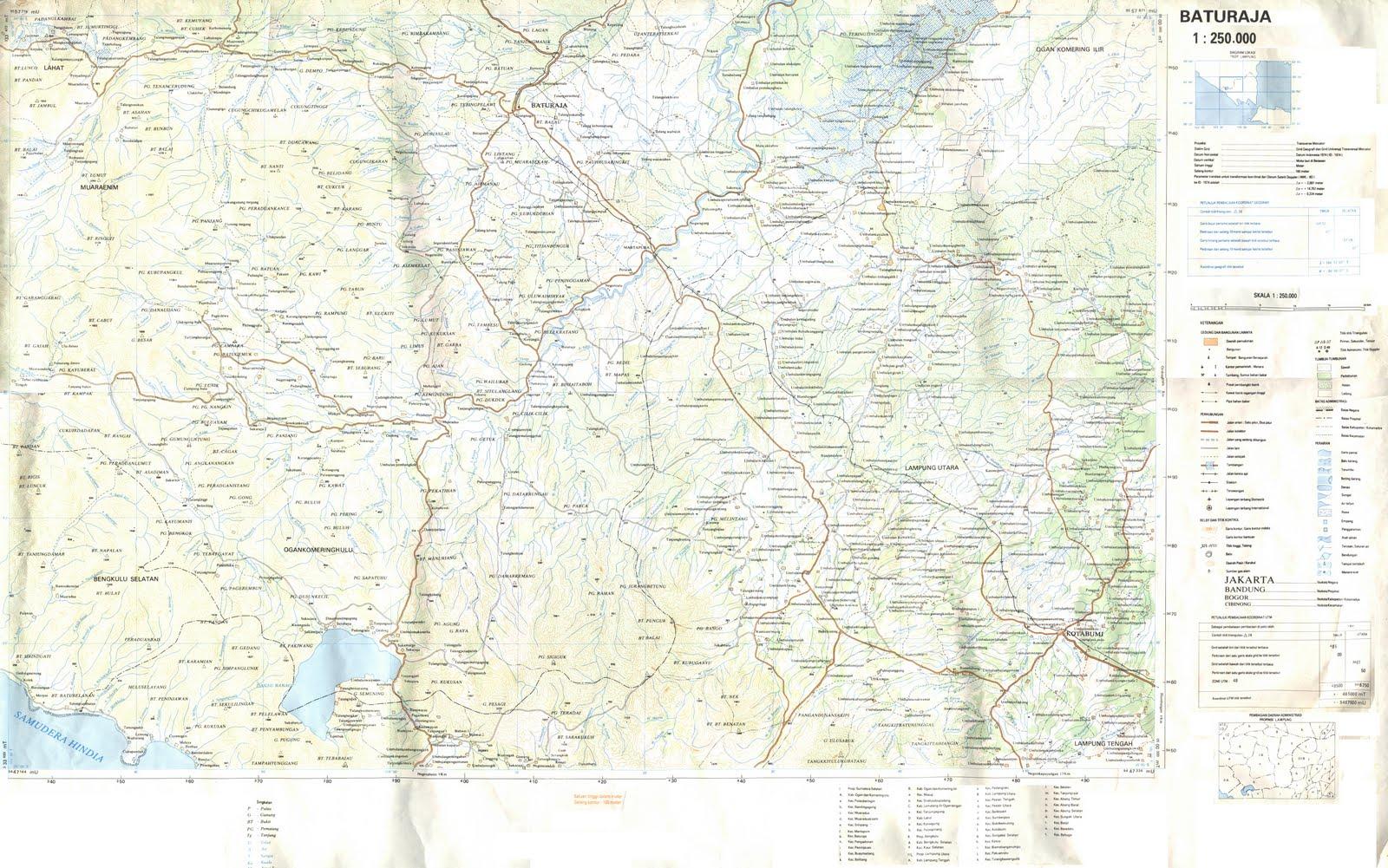 Baturaja Indonesia  city pictures gallery : TAKJUB INDONESIA: Peta Topografi Prabumulih dan Baturaja skala 250k