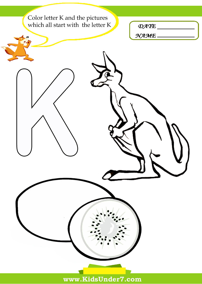 Kids under 7 letter k worksheets and coloring pages spiritdancerdesigns Image collections
