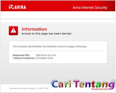 itus di atas terhalangi oleh AVIS karena situs itu termasuk katagori ...
