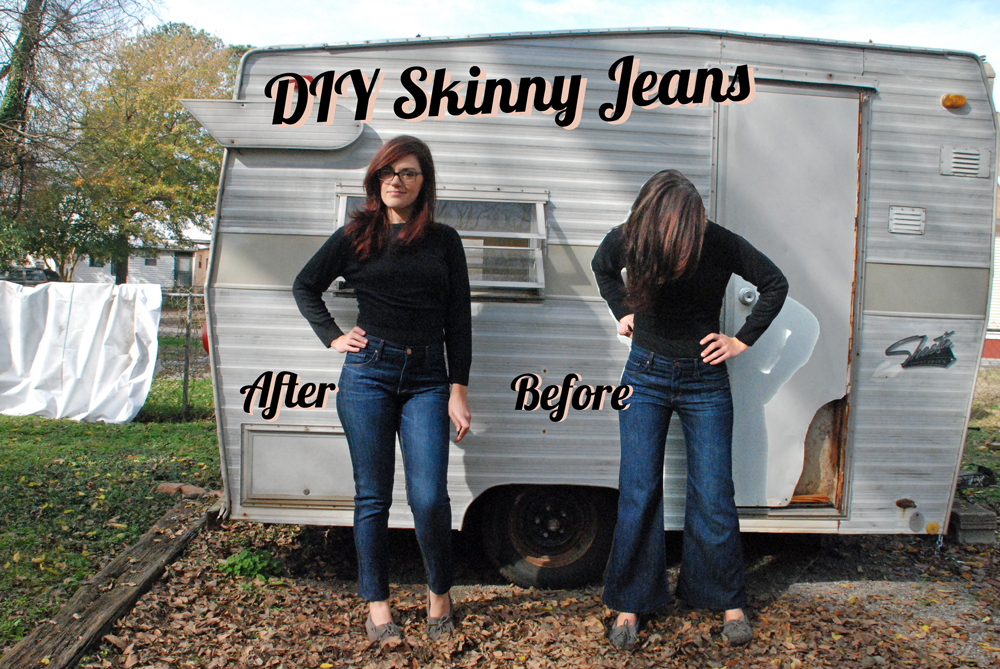 DIY Skinny Jeans -<br>Turn a wide leg pant to skinny or straight ...
