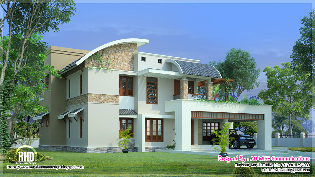 Three fantastic house exterior designs kerala home for Home exterior design india residence houses