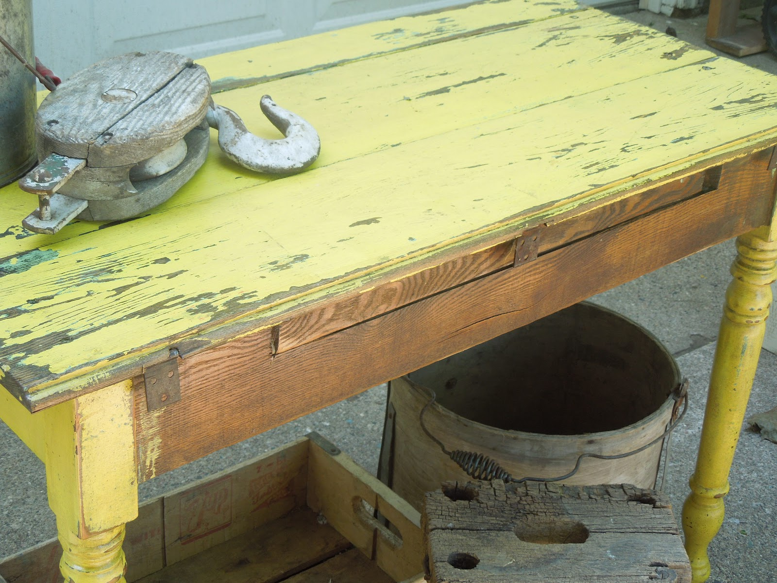 Tattered Lantern: Yellow Primitive Table 45.00(SOLD) & Rustic wall ...