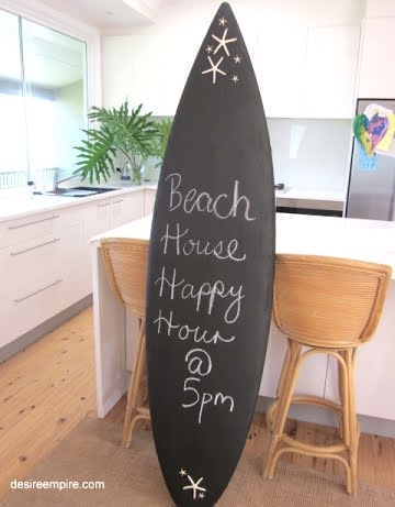 Decorative message chalkboard beach signs coastal decor for Surf decoration