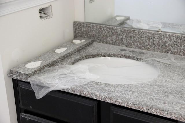 Burlywood granite installed in the master bath