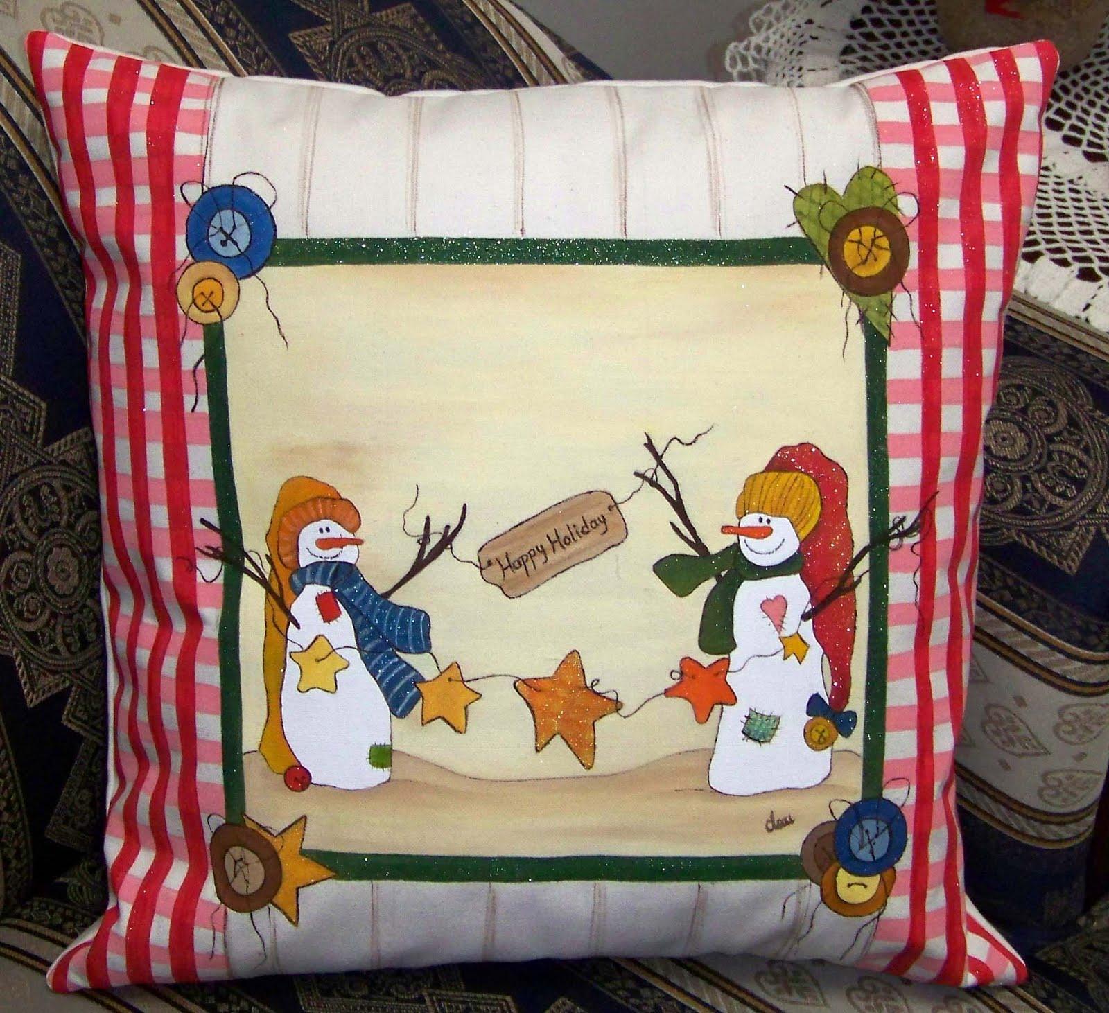 Pintura en tela a mano cojines navide os pintados a mano por encargo - Pintura en tela motivos navidenos ...