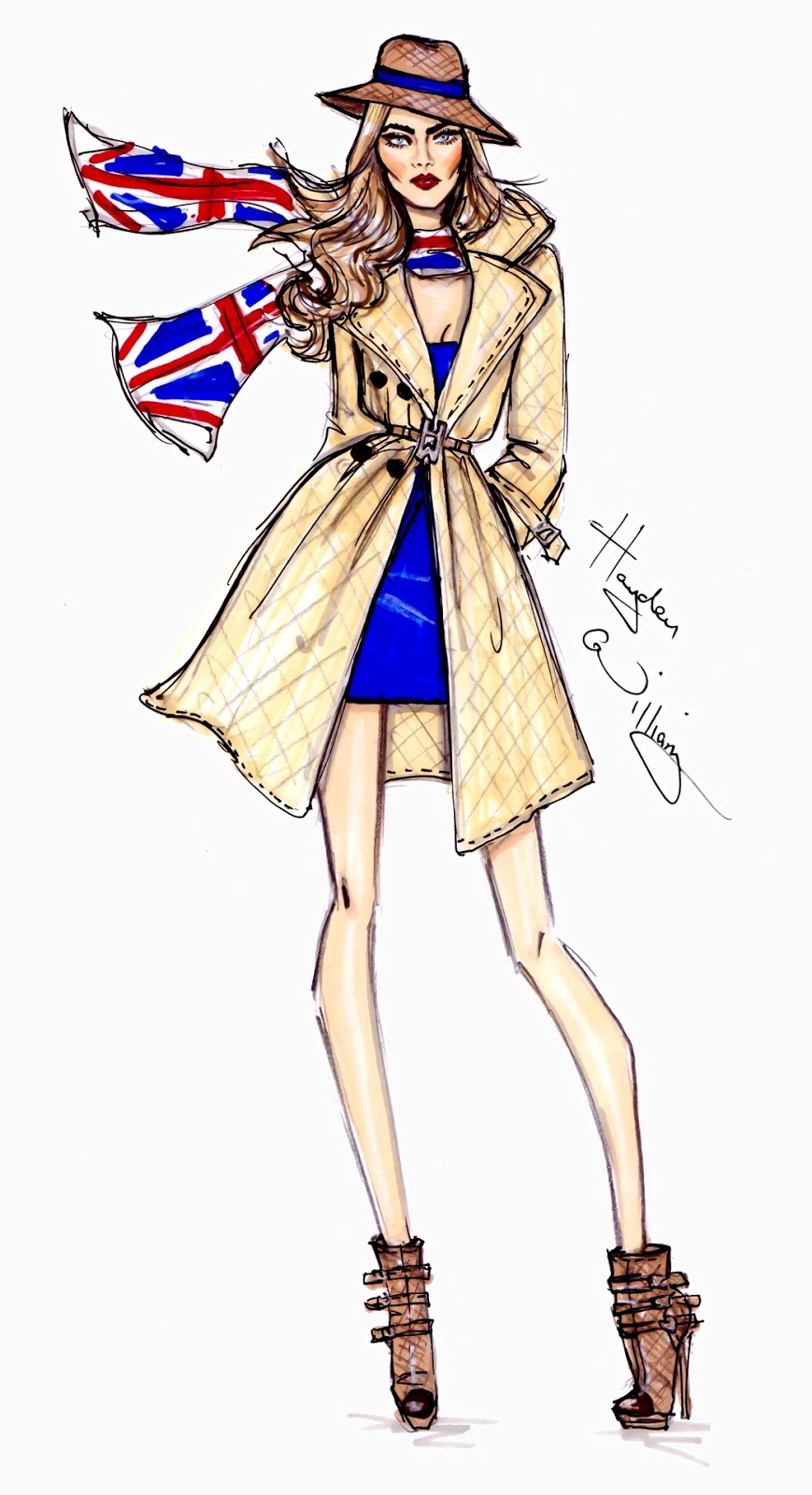 Illustration fashion sketches forecast dress for winter in 2019