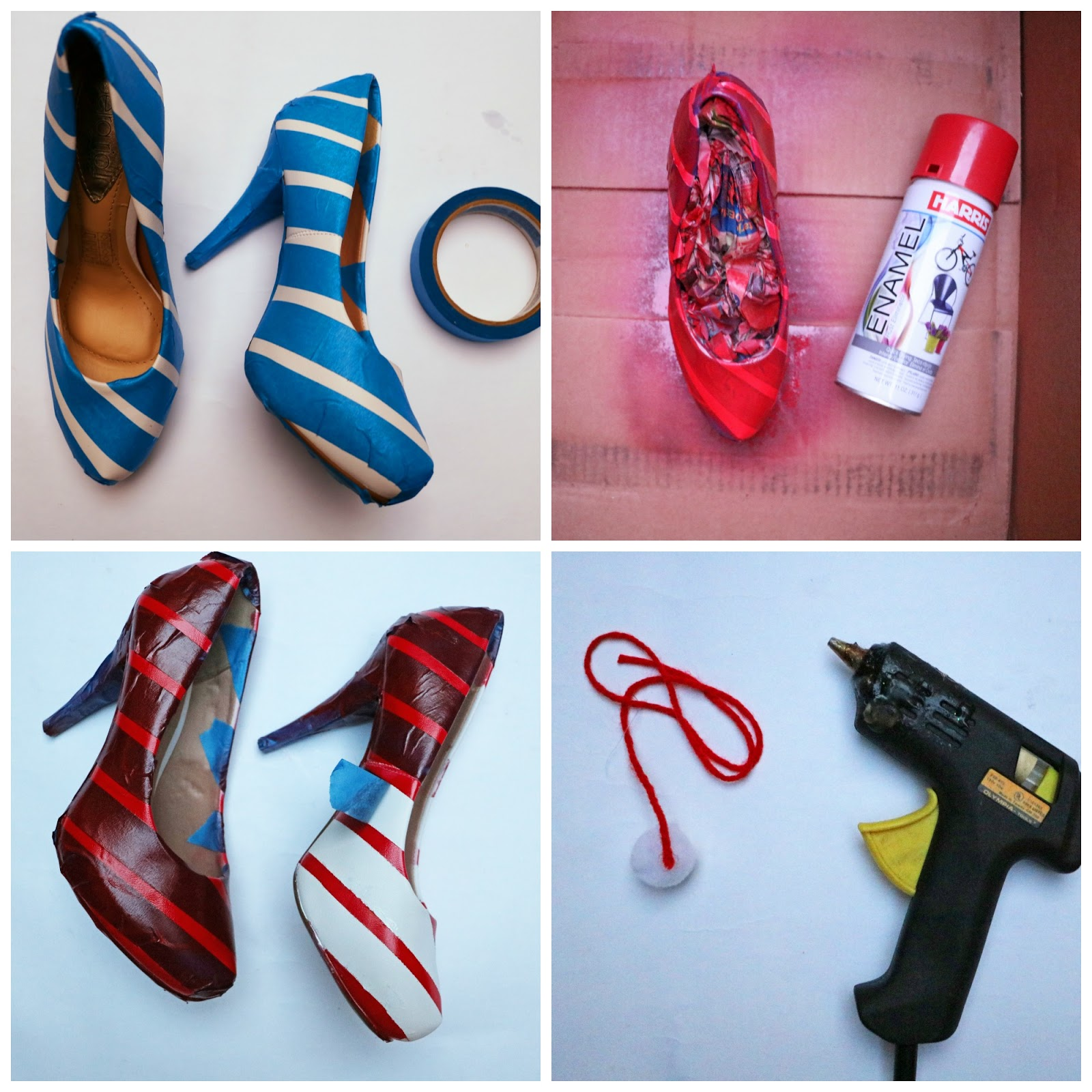 Step by step tutorial on how to make Peppermint inspired Christmas heels!