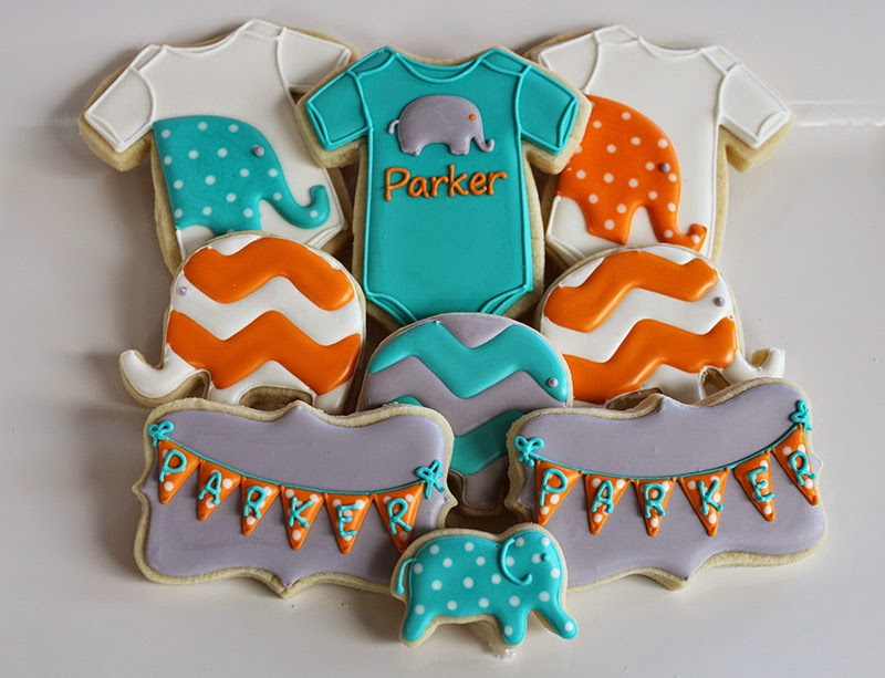 Elephant-themed baby shower cookies