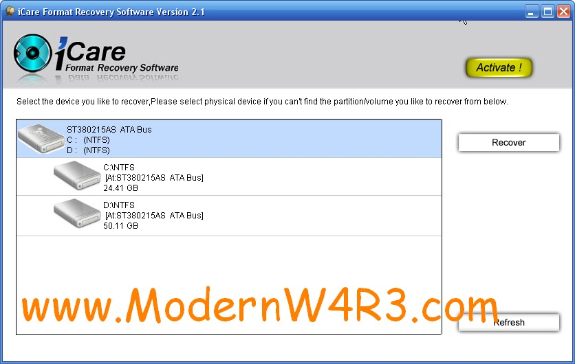 Icare format recovery 2.1