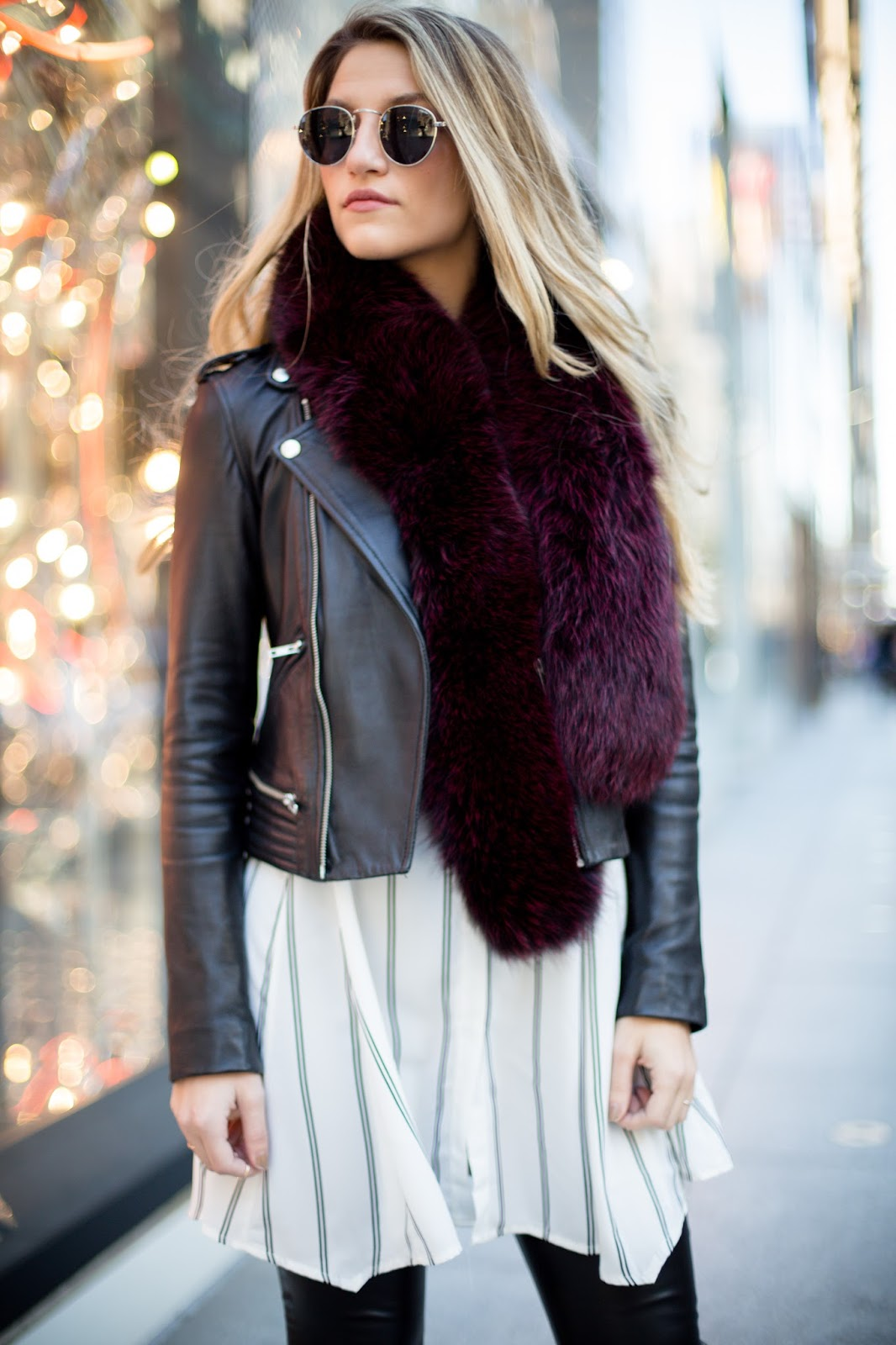 burgundy fur stole, dressed 4 dreams