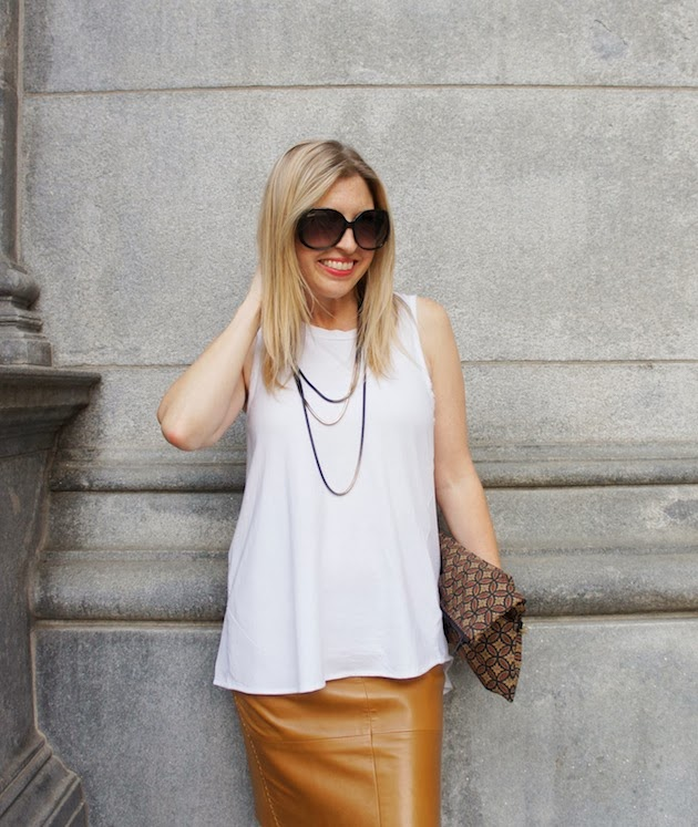 Vicolo Mio Zipper Chain Necklace, Phillip Lim for Target Sheer Back Tank, Lindsay Tia clutch