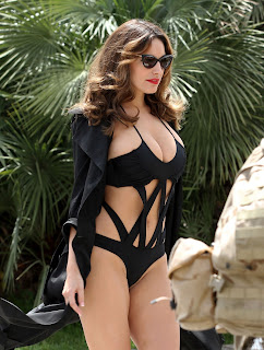 Kelly Brook black swimsuit, Kelly Brook phone booth photo shoot