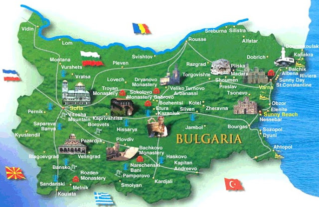 карта городов Болгарии