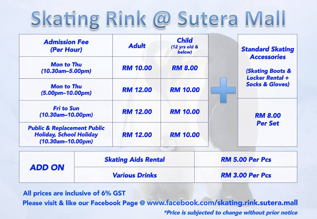 Skating Rink @Sutera Mall - Kadar Sejam & Sewa Peralatan