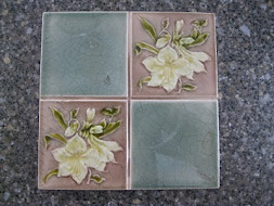 Majolica Tile - Floral Color Block Sage and Pale Taupe