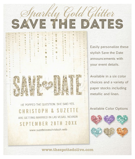 Sparkly Glitter Save The Date Announcements by The Spotted Olive