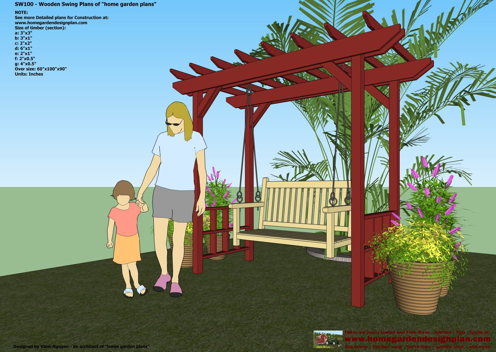 Home Garden Plans Sw100 Arbor Swing Plans Swing - garden swing designs